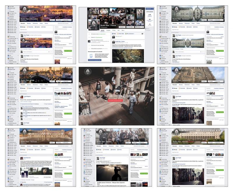 Les groupes de Studio Raw, la page Facebook, et le site.
